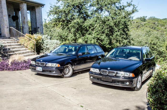 A pair of BMW 540iTs now grace our driveway.  One black, and one dark blue!