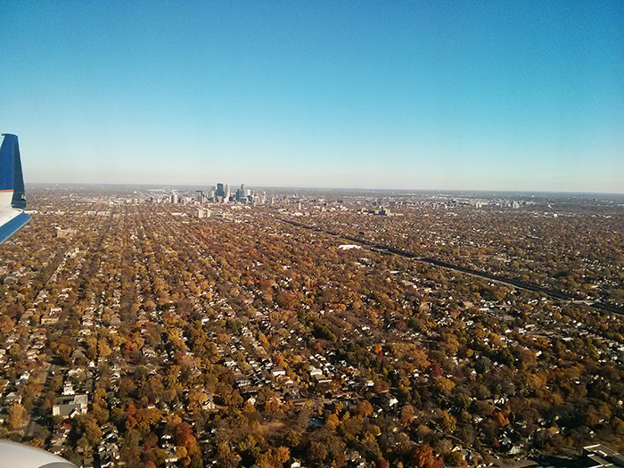 The airplane affords a bird's eye view of the Minneapolis area